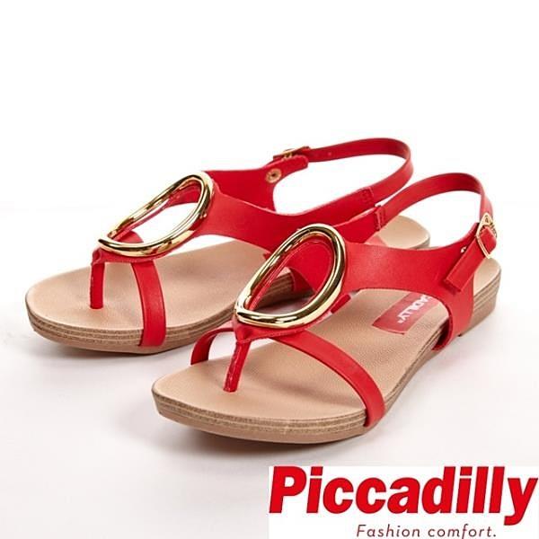 【南紡購物中心】Piccadilly 舒適軟底 大O裝飾釦環夾腳涼鞋 女鞋-紅(另有白)