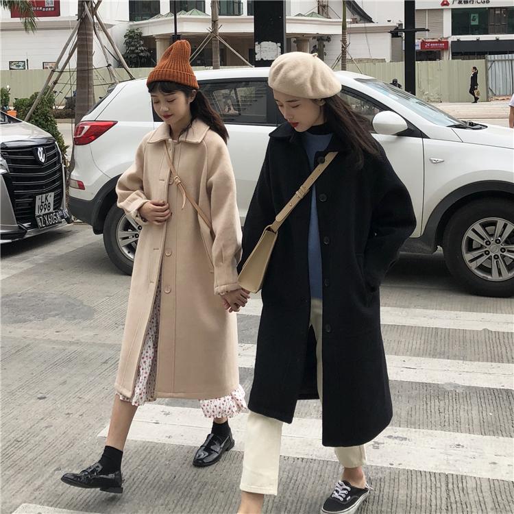 Accola毛呢外套 赫本风中长款呢子大衣新款秋冬宽松加厚小个子黑色毛呢外套女