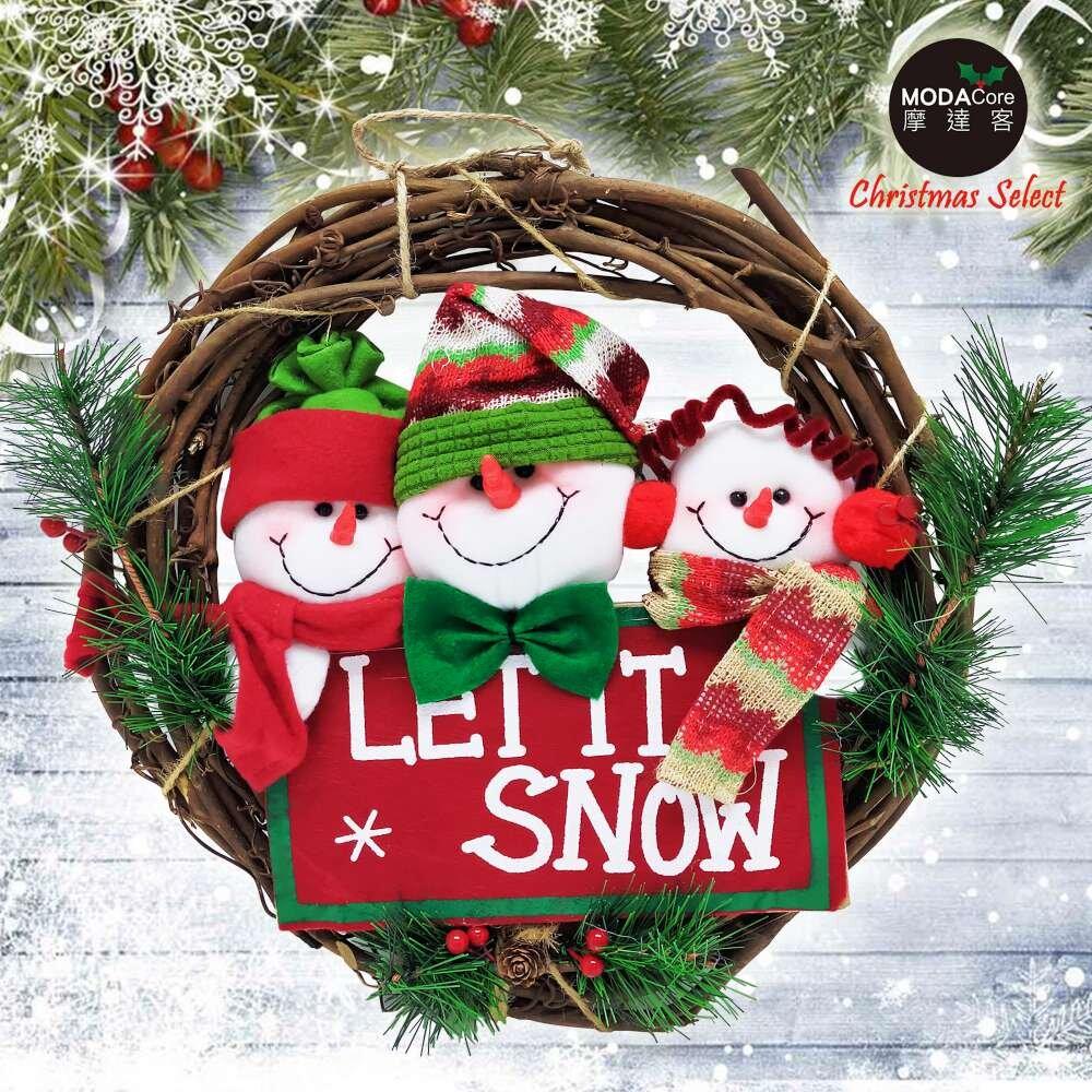 摩達客耶誕-13吋聖誕三雪人英文字樹藤花圈