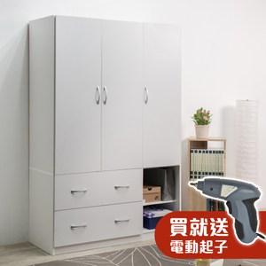 【TZUMii】雅緻三門二抽衣櫥-凝雪白+電動起子