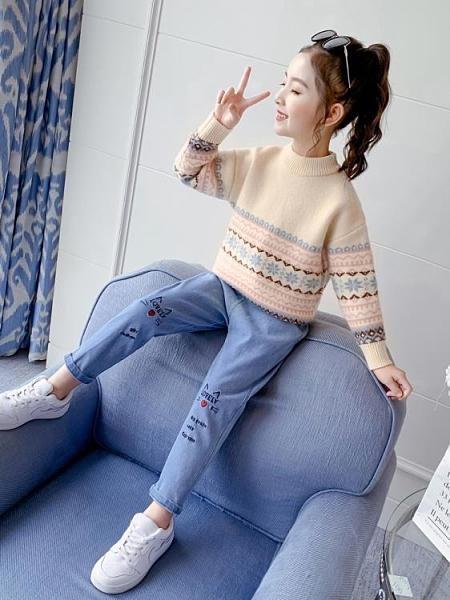 女童毛衣套頭2020新款秋冬兒童打底衫洋氣童裝小女孩針織衫大童潮
