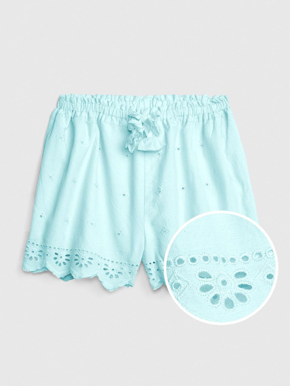 幼童 甜美風格鏤空刺繡休閒短褲
