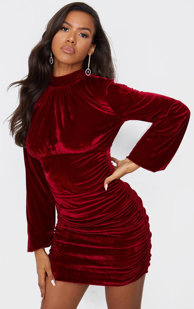 Burgundy Velvet High Neck Ruched Balloon Sleeve Bodycon Dress