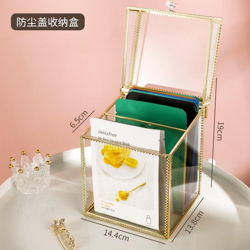 面膜收納盒  梳妝台面膜收納盒防塵網紅放化妝品護膚品口紅整理神器桌面置物架【xy624】