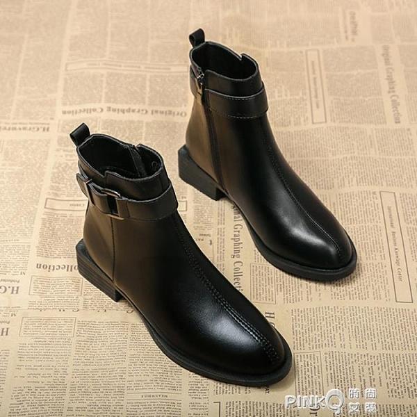 馬丁靴女靴子2020年秋冬季新款英倫風百搭平底瘦瘦短靴加絨棉鞋子pinkQ 時尚女裝