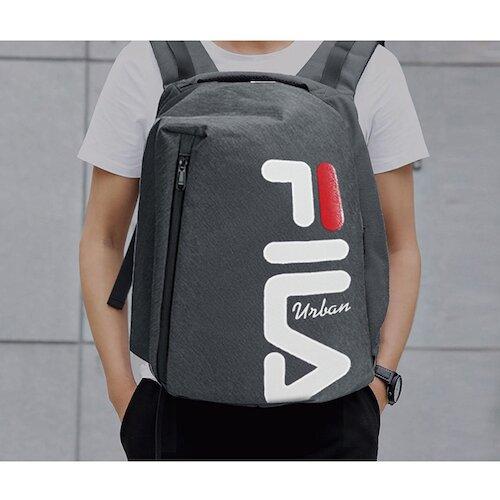 【FILA】經典大LOGO後背包-鐵灰色