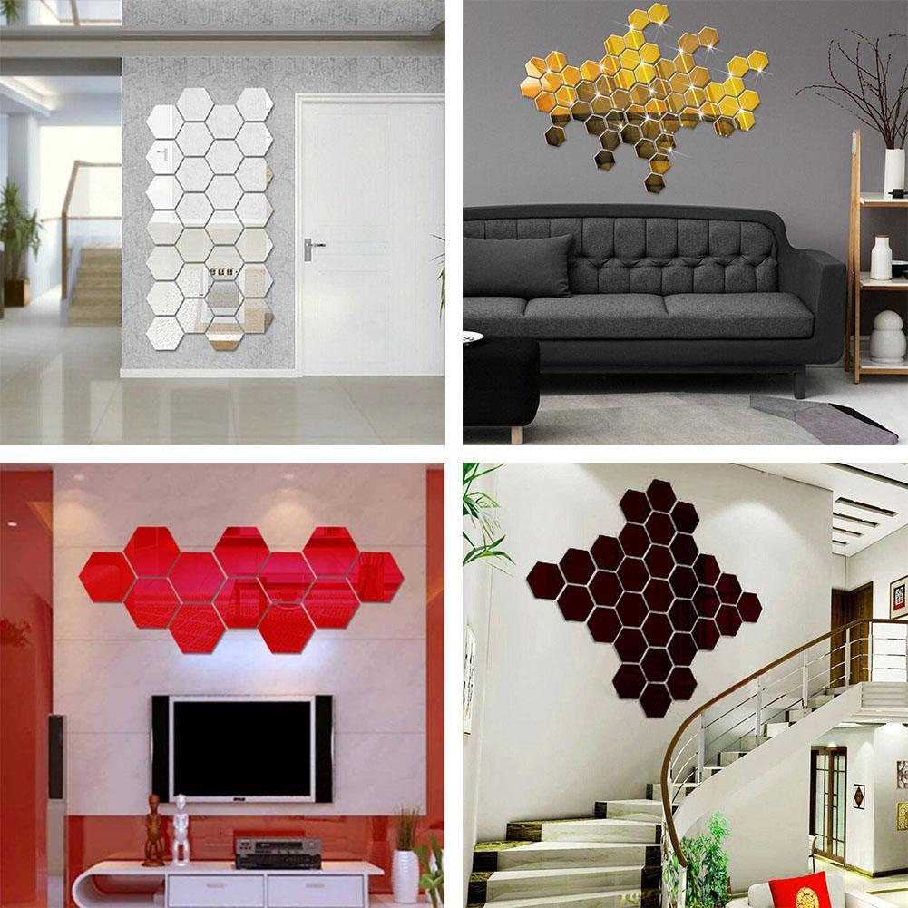 WF12pcs 3D塑料六角鏡牆貼DIY藝術臥室裝飾鏡子