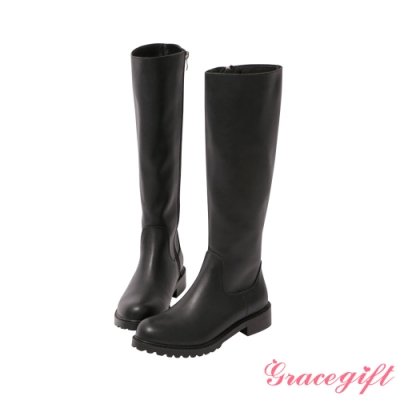 Grace gift-素面鋸齒底低跟長靴 黑