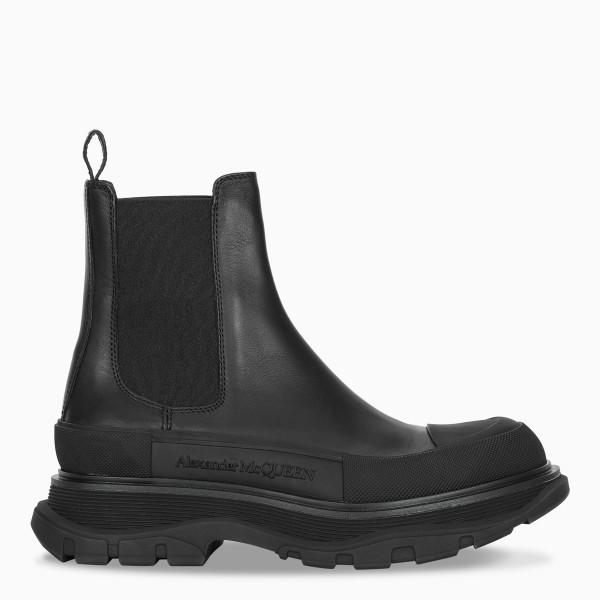 Alexander McQueen Black Tread Chelsea boots