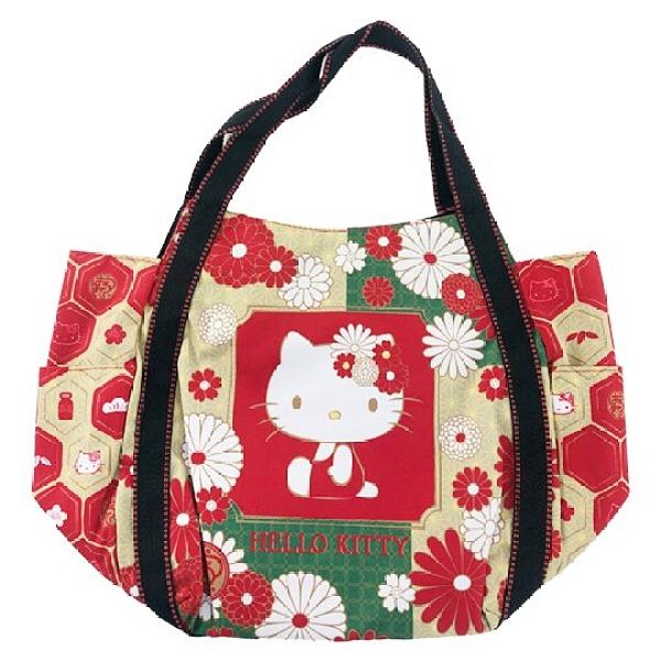 小禮堂 Hello Kitty 帆布托特包側背袋 帆布手提袋 購物袋 肩背袋 (紅金 側坐) 4582135-12899