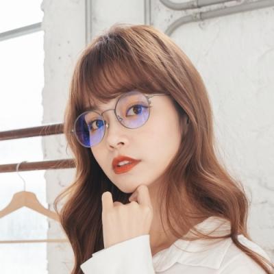 ALEGANT日本設計純灰輕量鈦金屬質感圓框UV400濾藍光眼鏡│莫內的印象光影