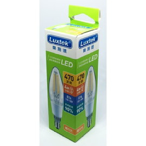 【Luxtek】 C35-4 4W小尖LED燈絲燈泡E14(暖白光)