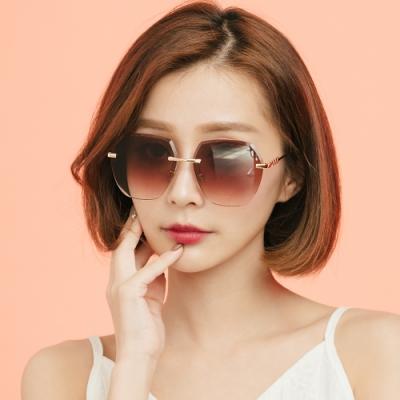 ALEGANT黎明棕果凍漸層無框墨鏡│UV400太陽眼鏡│摩登女郎的裙襬