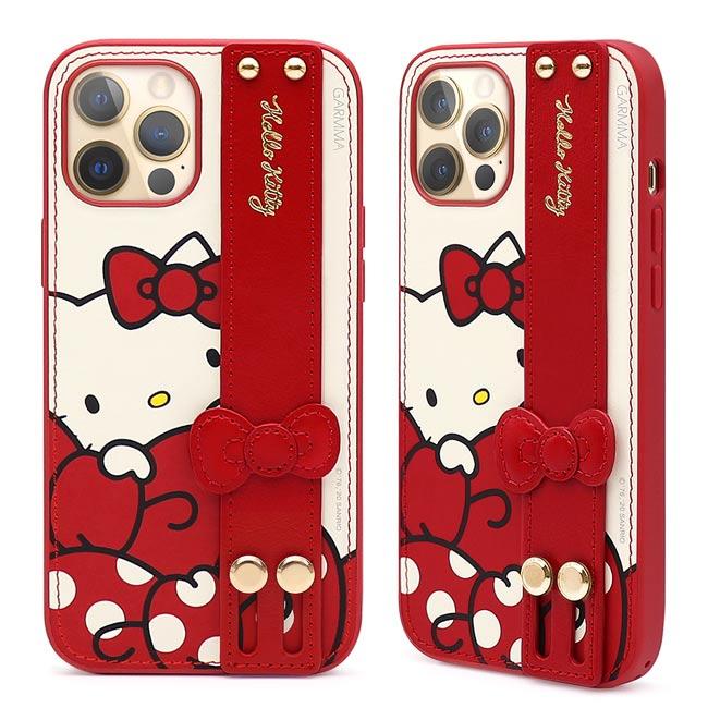 GARMMA Hello Kitty iPhone 12 mini/Pro/Pro Max i12 手掌帶皮革保護套