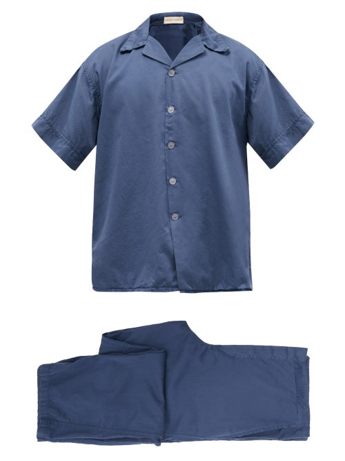 Cleverly Laundry - Superfine Cotton-sateen Pyjama Set - Mens - Navy