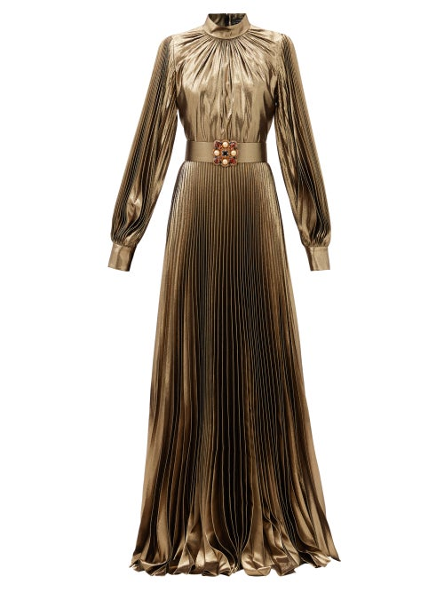 Andrew Gn - Crystal-belt Pleated Silk-blend Plissé Gown - Womens - Gold