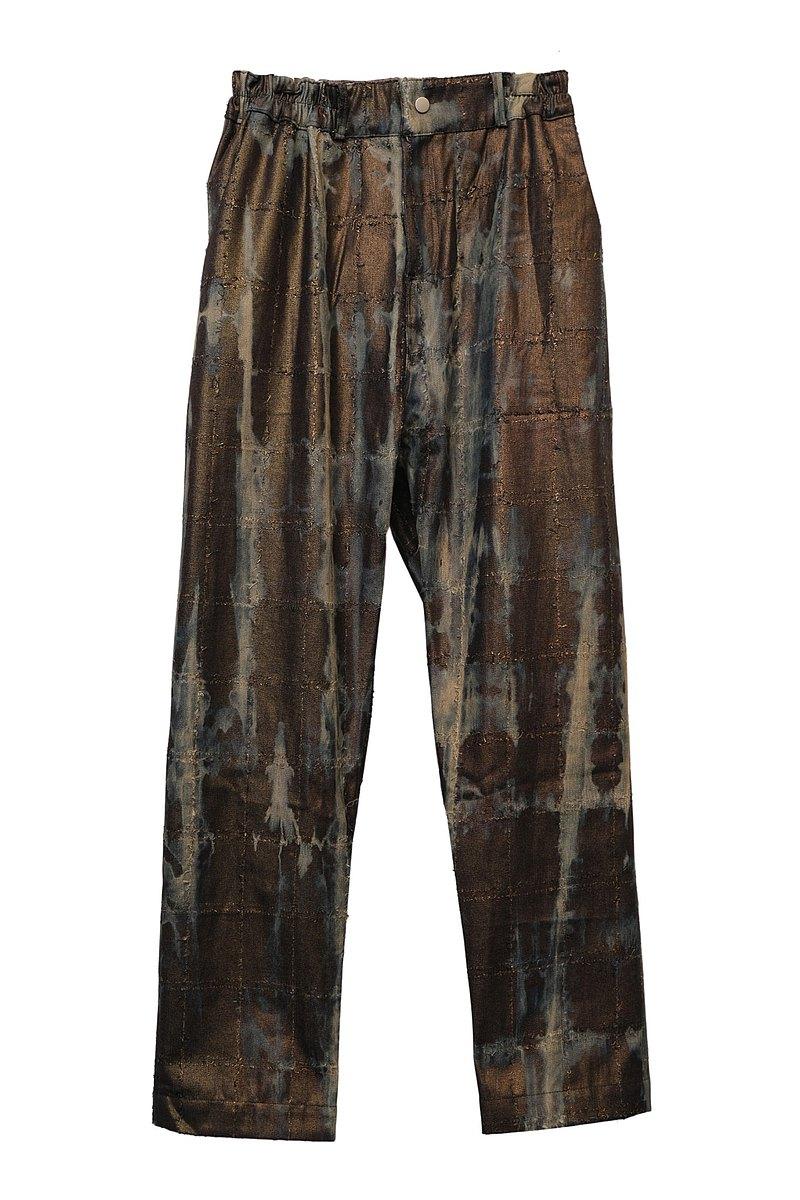 KAIKAI - Texture Playground - 斑駁燙金闊腿牛仔褲
