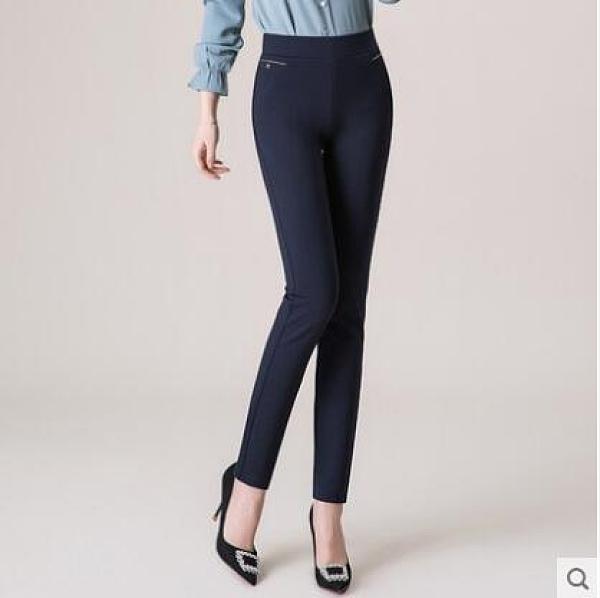褲子春秋女直筒寬鬆鬆緊腰彈力高腰歲外穿女褲