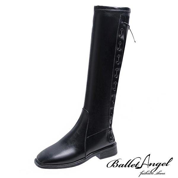 長靴 馬甲穿帶造型長筒靴(皮面黑)*BalletAngel【18-116-1bk】【現+預】