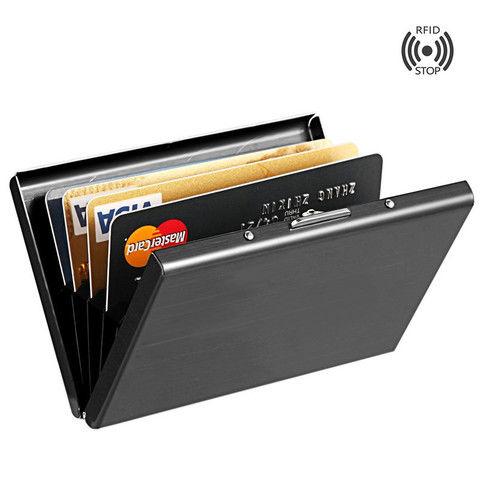 【防消磁防盜刷卡夾證件夾卡包】精品男士卡包 不銹鋼金屬創意卡夾 男式RFID防消磁多卡位信用卡包
