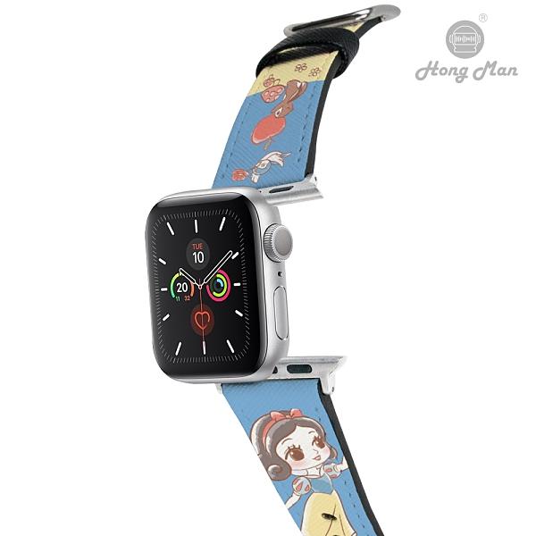 (預購) 迪士尼公主系列 Apple Watch 皮革錶帶 Q版白雪公主 (銀色)