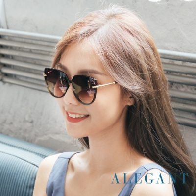 ALEGANT歐美名媛時尚簡約深焙棕漸層墨鏡│UV400太陽眼鏡│拂曉的微光奇想