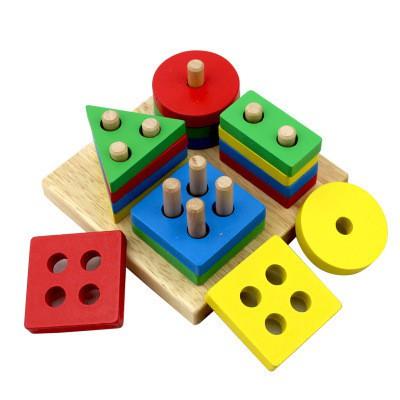 兒童益智玩具拼接組合木製四組立柱嬰兒早教幾何形狀匹配拼圖塊 1