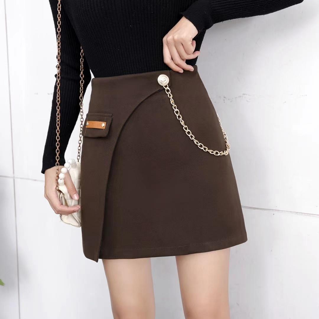 【免運】復古bf高腰鏈條不規則包臀裙 防走光毛呢裙時尚百搭靴裙 顯瘦半身裙 A字短裙