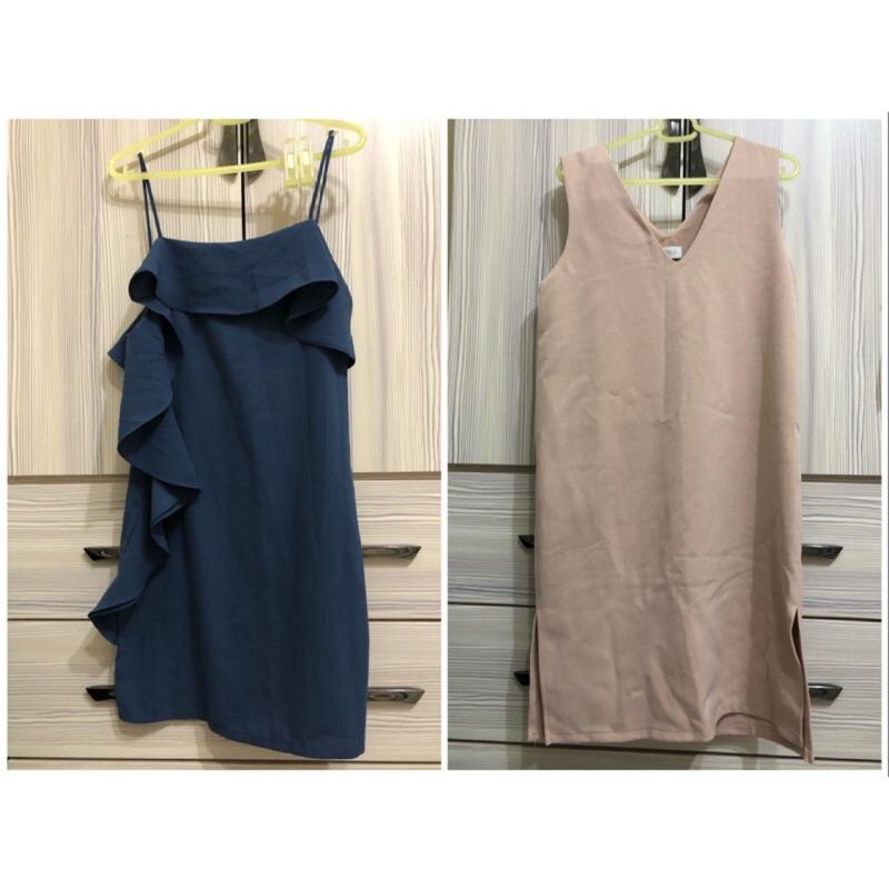 背心洋裝( 花邊藍色,meier.q粉膚色)