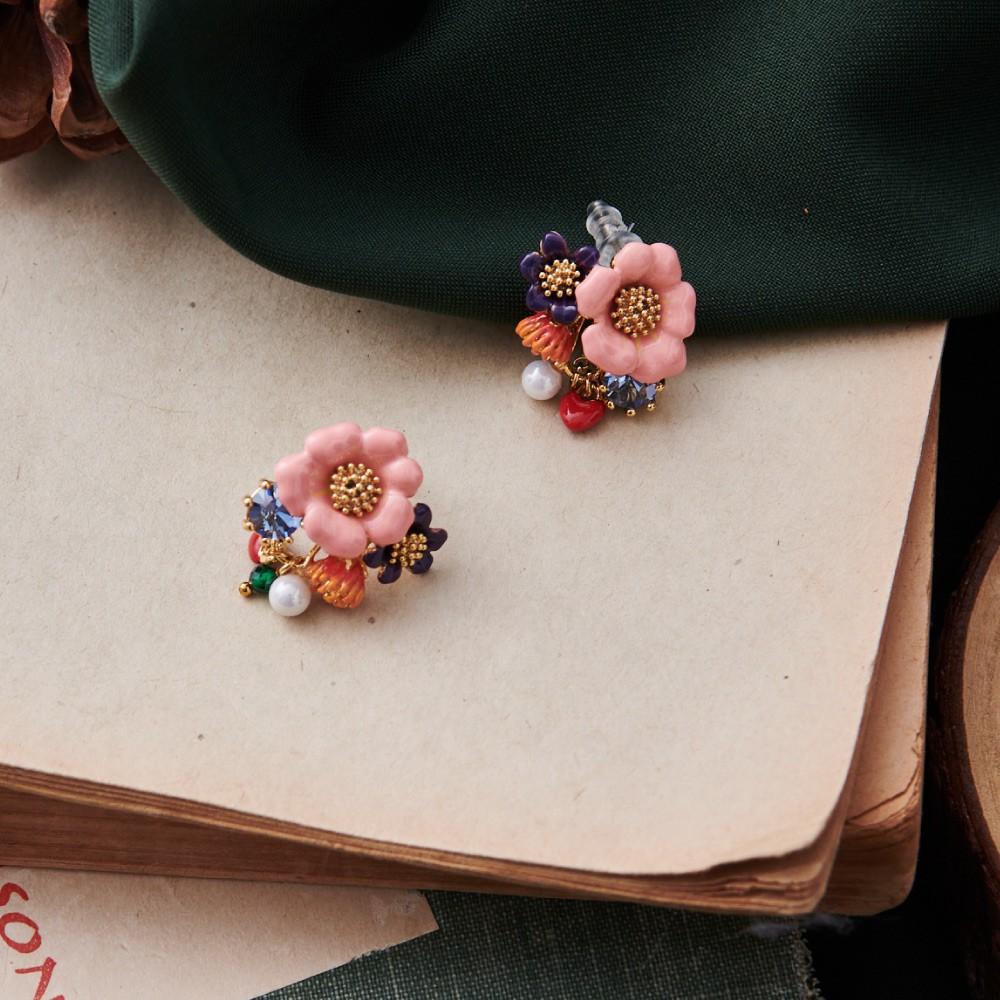 【JUICY GRAPE】動物森友會 百花綻放珍珠水鑽耳釘prayergarden琺瑯祈願飾品