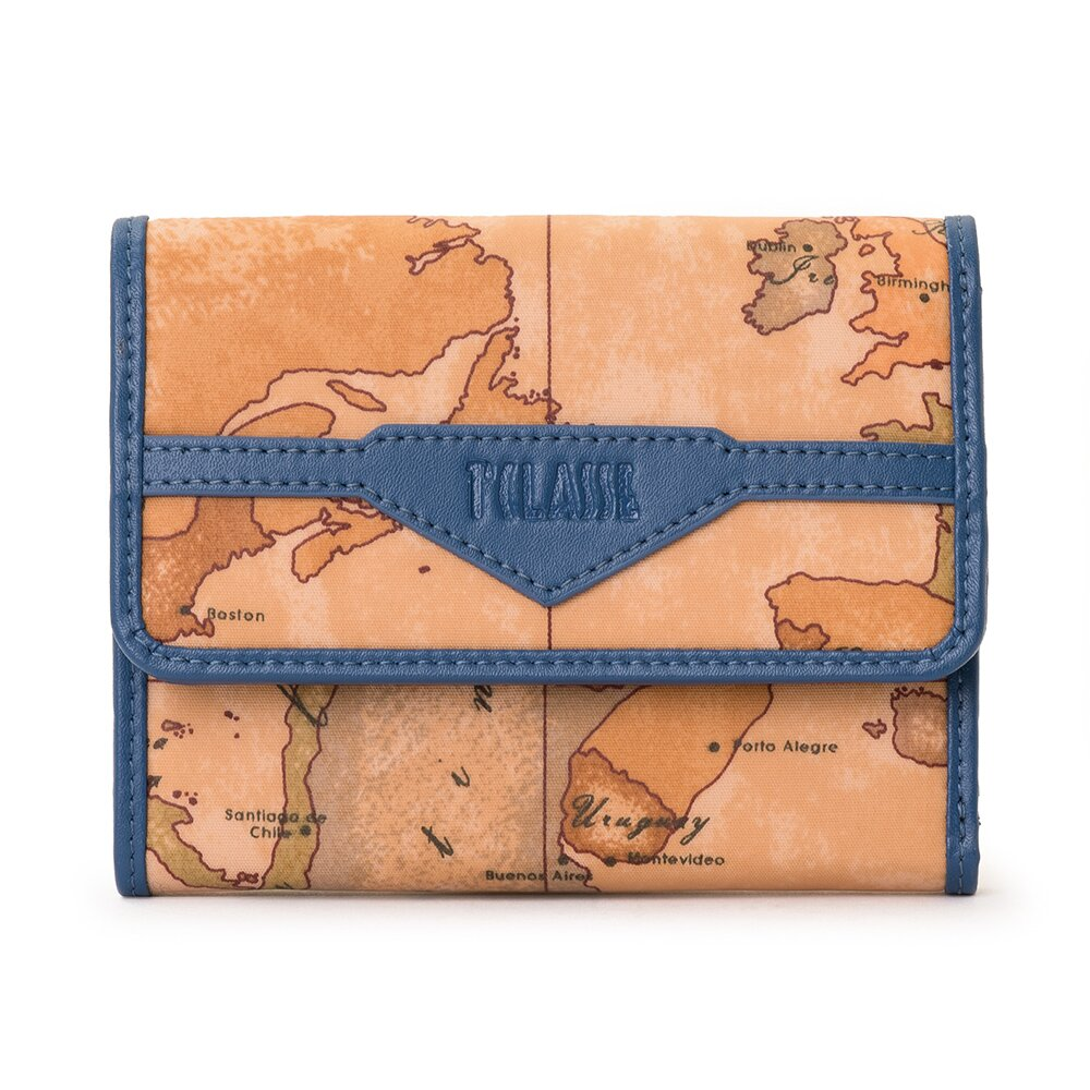 【Alviero Martini 義大利地圖包】尼龍6卡釦式短夾-藍色