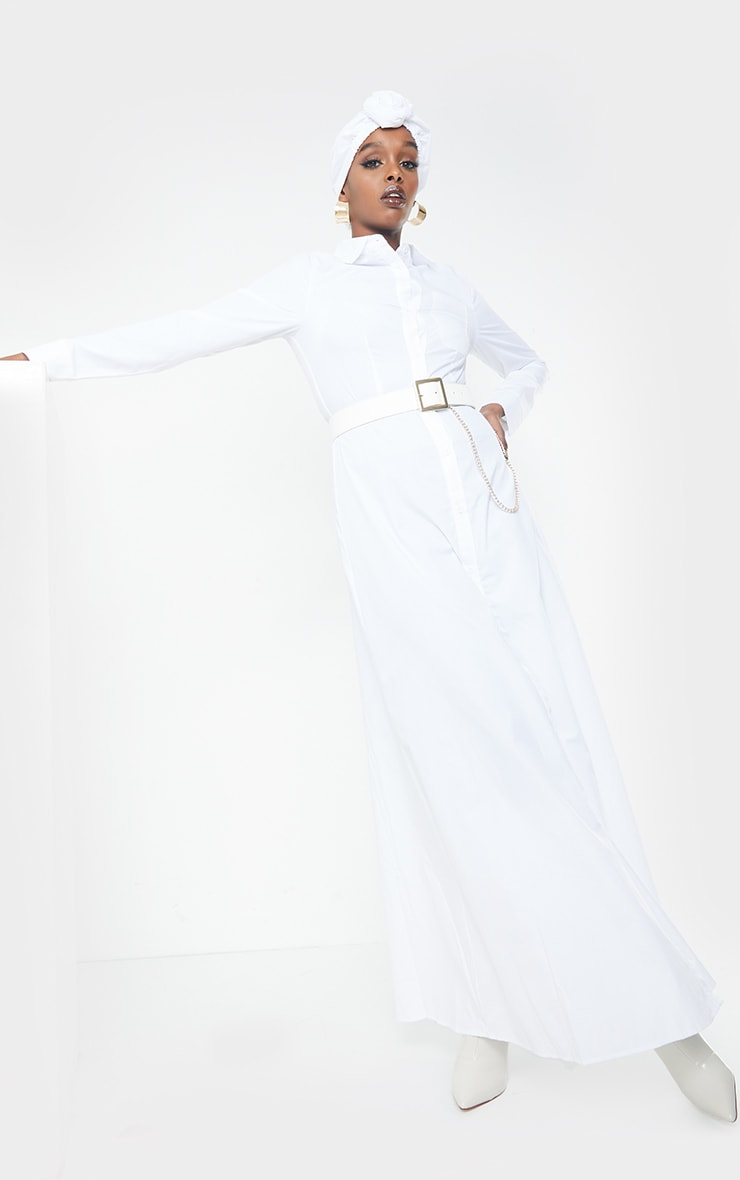 White Woven Button Front Maxi Shirt Dress