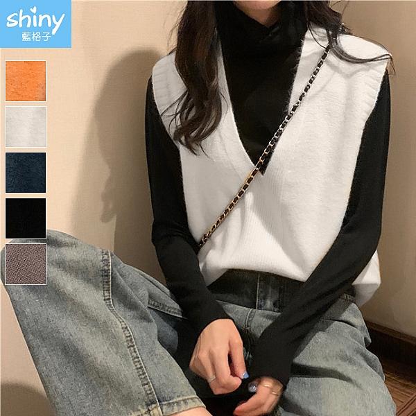 【V3228】shiny藍格子-簡單搭配.純色V領無袖馬甲薄款針織背心