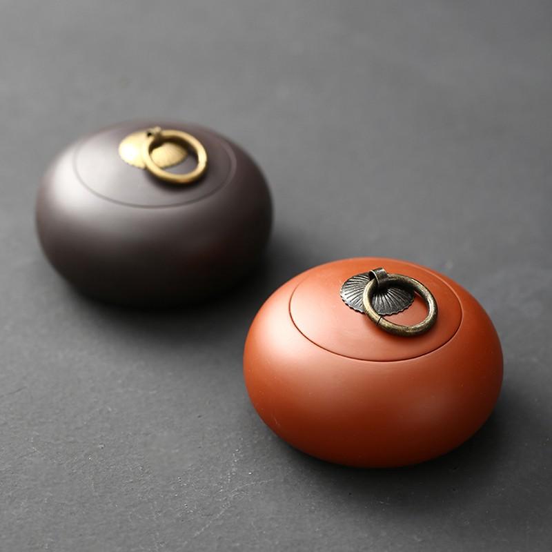 紫砂茶葉罐小號存儲罐普洱扁茶罐陶瓷散裝醒茶罐家用原礦迷你便攜