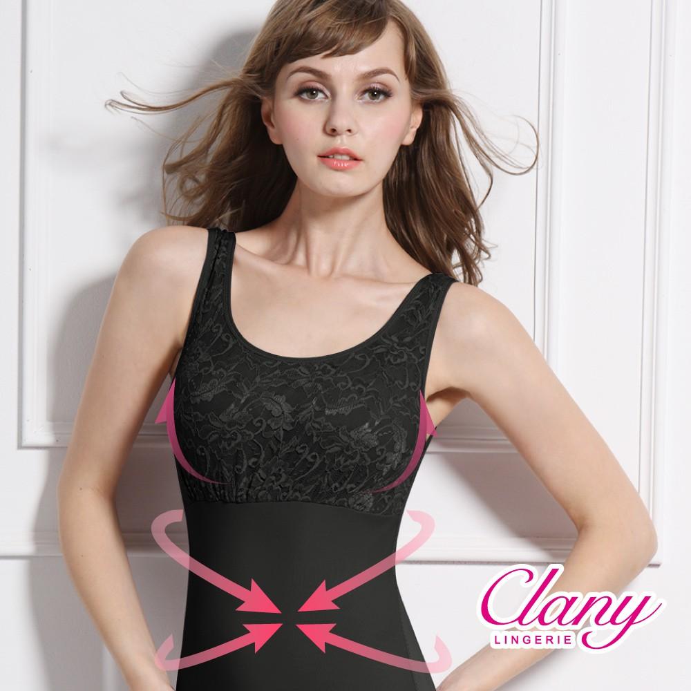 【可蘭霓Clany】蕾絲款Tactel 輕機塑身M-3XL美體衣(神秘黑 1939-63)
