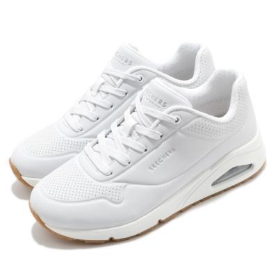 Skechers 休閒鞋 Uno-Stand on Air 寬楦 女鞋 增高 記憶型泡棉鞋墊 靈活 支撐 白 銀 73690WWHT