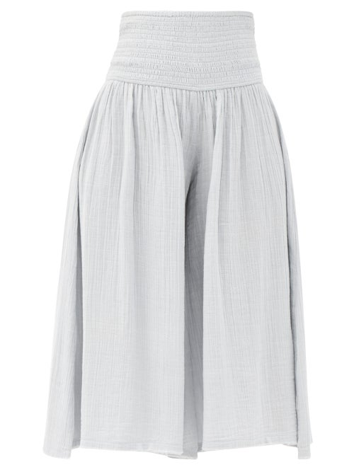 Anaak - Anneka Shirred-waist Cotton-gauze Culottes - Womens - Light Blue