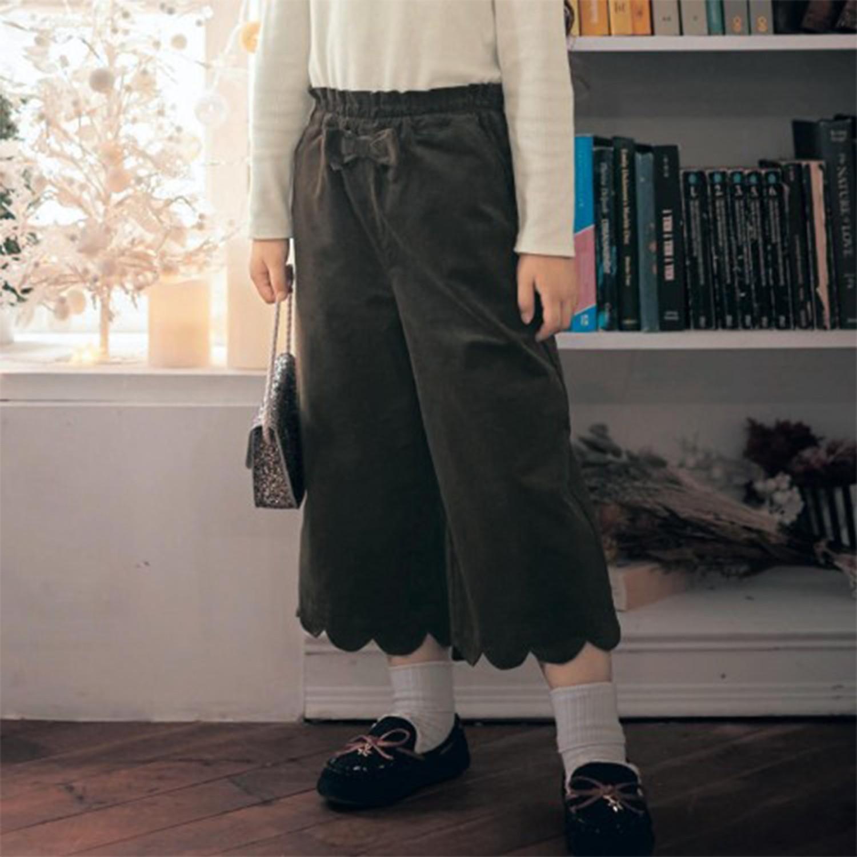 日本千趣會 - GITA 蝴蝶結燈芯絨花瓣褲管長褲-墨綠