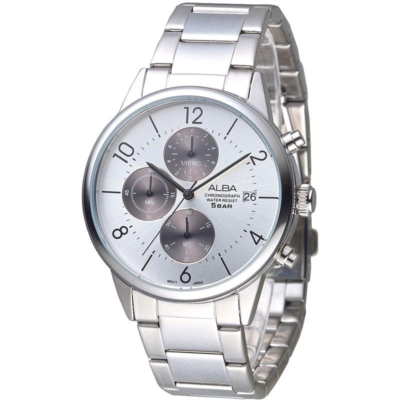 ALBA雅柏 手錶 AM3287X1 時尚達人三眼計時潮流男錶-珠白/黑灰 保固二年 廠商直送