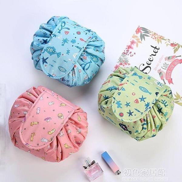 檸朵網紅爆懶人化妝包便攜抽繩旅行韓國大容量收納包化妝袋洗漱包 初色家居館