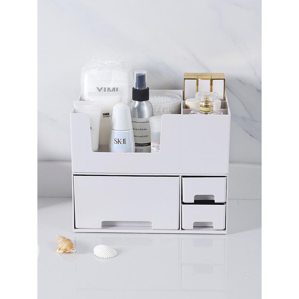 現貨 化妝品收納盒抽屜式桌面梳妝臺化妝盒簡約首飾面膜口紅收納置物架 護膚收納盒 化妝品收納箱
