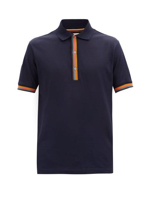 Paul Smith - Artist-stripe Cotton-piqué Polo Shirt - Mens - Dark Navy