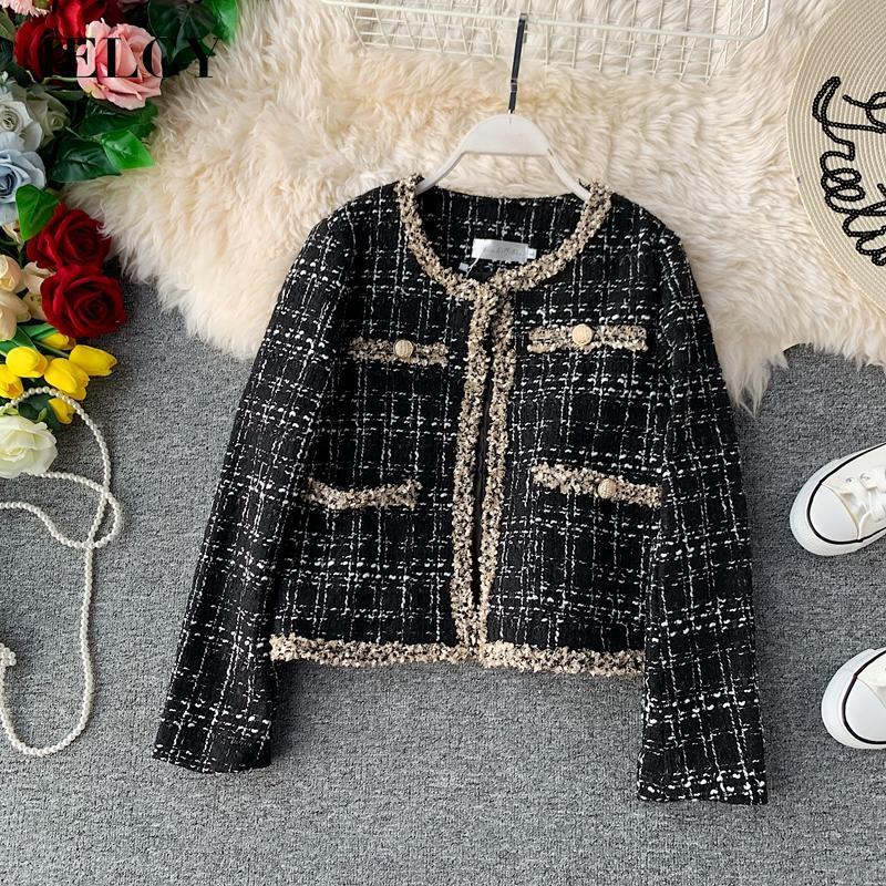 IELGY 女人的衣服 小香連衣裙 套裝 夾克 時尚 時尚 套裝 呢絨 法式風格 短