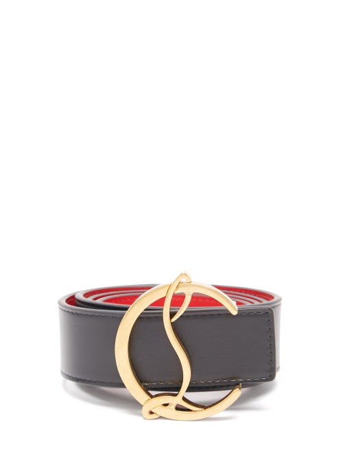 Christian Louboutin - Monogram-buckle Leather Belt - Womens - Black