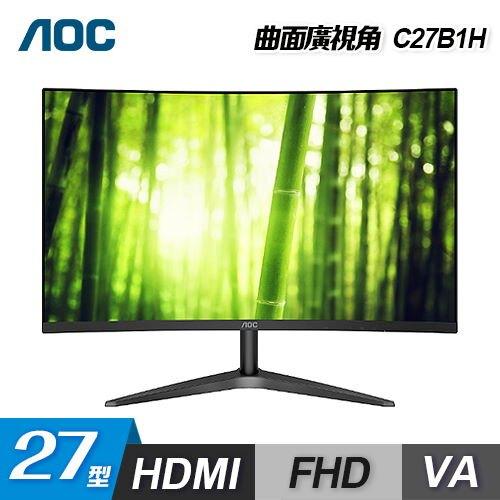 【AOC】27型 VA曲面 16:9 液晶顯示器(C27B1H)【三井3C】