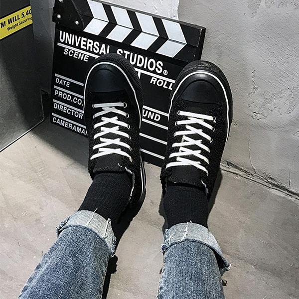 X-INGCHI 女款黑色泰迪絨毛帆布鞋-NO.X0312