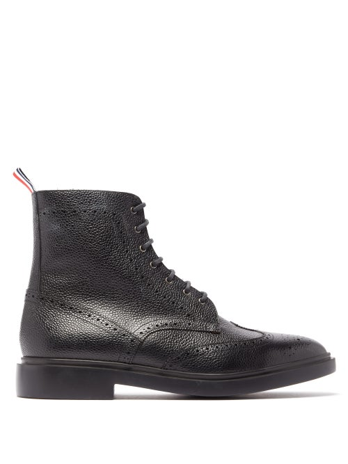 Thom Browne - Wingtip Brogue Grained-leather Boots - Mens - Black