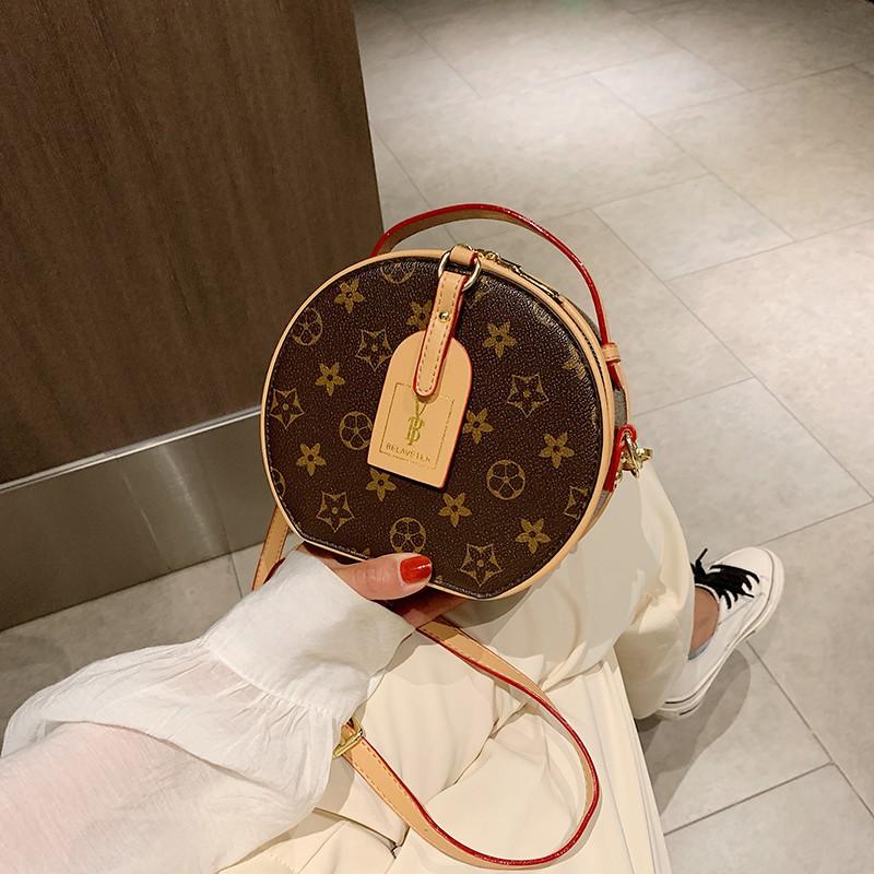 圓形包包2020新款高級感單肩斜挎包法國小眾復古小包圓餅女包現貨
