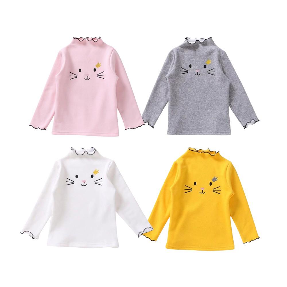Baby童衣 女童長袖T恤 中小女童內搭上衣 韓版貓咪刺繡花邊領長袖上衣 88615