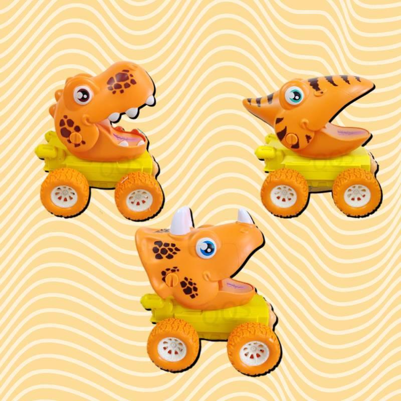 萌趣恐龍按壓車 霸王龍 三角龍 暴走龍 新生兒學爬車 按壓前行 3款3色共9種隨機發貨 支持整箱批發